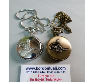Köstekli Cep Saati Osmanlı Armalı Gümüş Ve Bronz