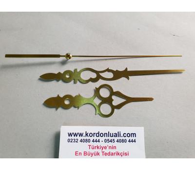Akrep 11,8 cm Yelkovan 16,4 cm Metal Desenli Gold 100 Adet