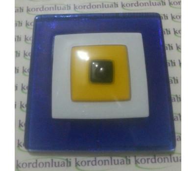 Nazar Boncuk Kare 8 cm Cam